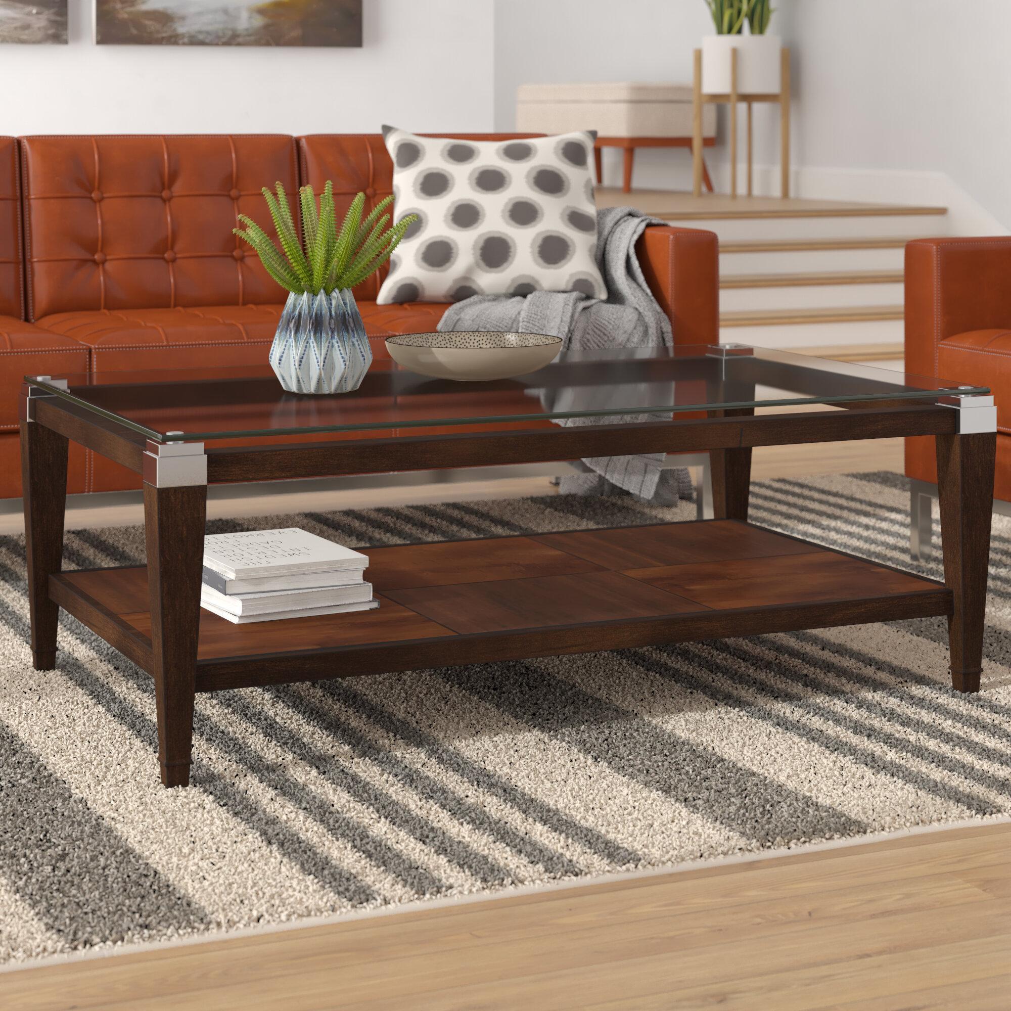 Hot Glass Coffee Table Rectangular Shelf Wood Chrome Top Wooden Frame Furniture