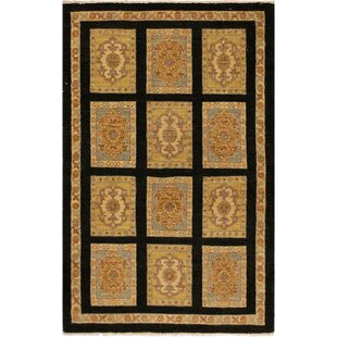 Affordable Price One-of-a-Kind Dorn Hand-Knotted Wool Black/Beige Area Rug By Isabelline