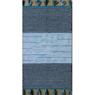 Order Parker Hand-Woven Blue/White Area Rug By Rosecliff Heights