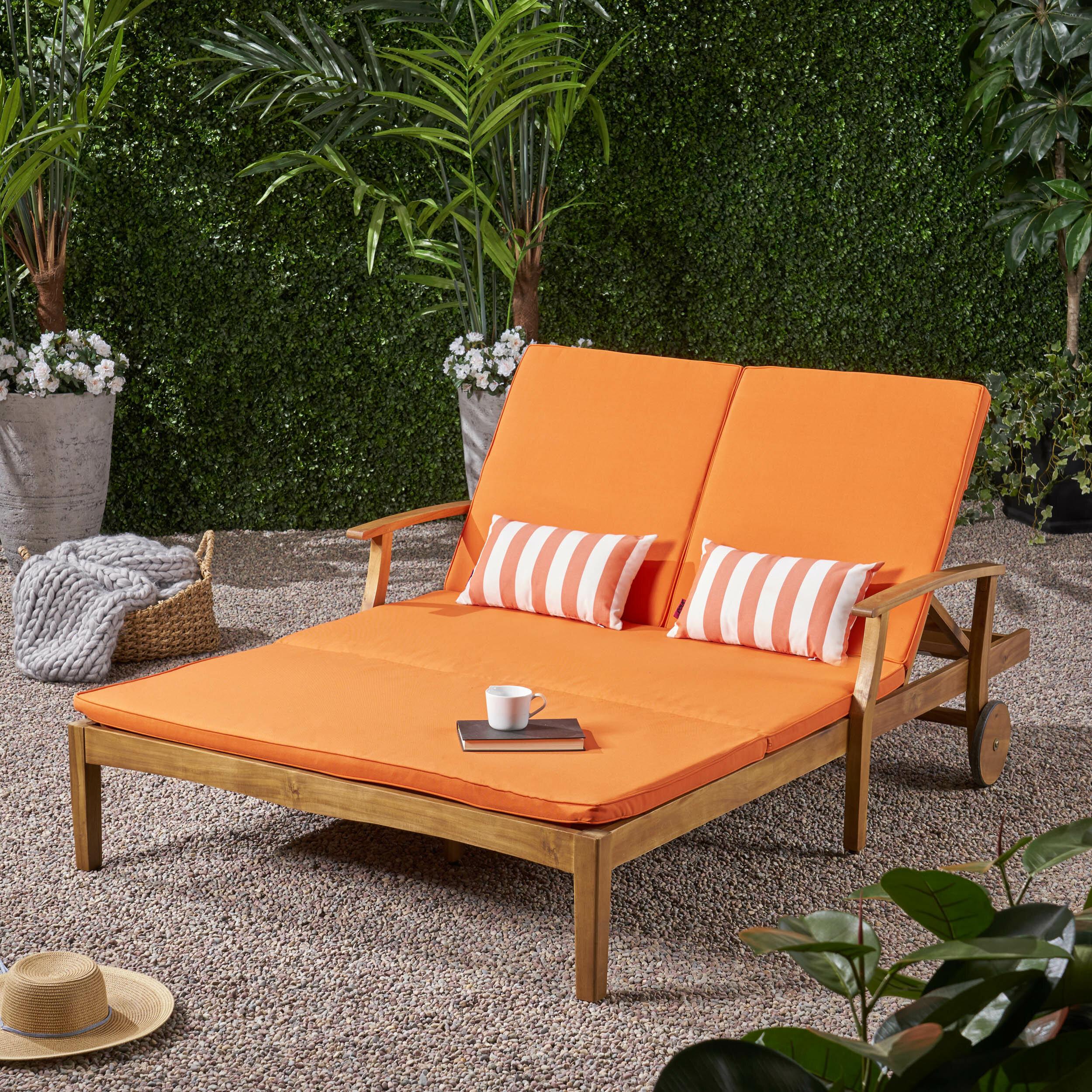Phenomenal Antonia Double Reclining Teak Chaise Lounge With Cushion Bralicious Painted Fabric Chair Ideas Braliciousco