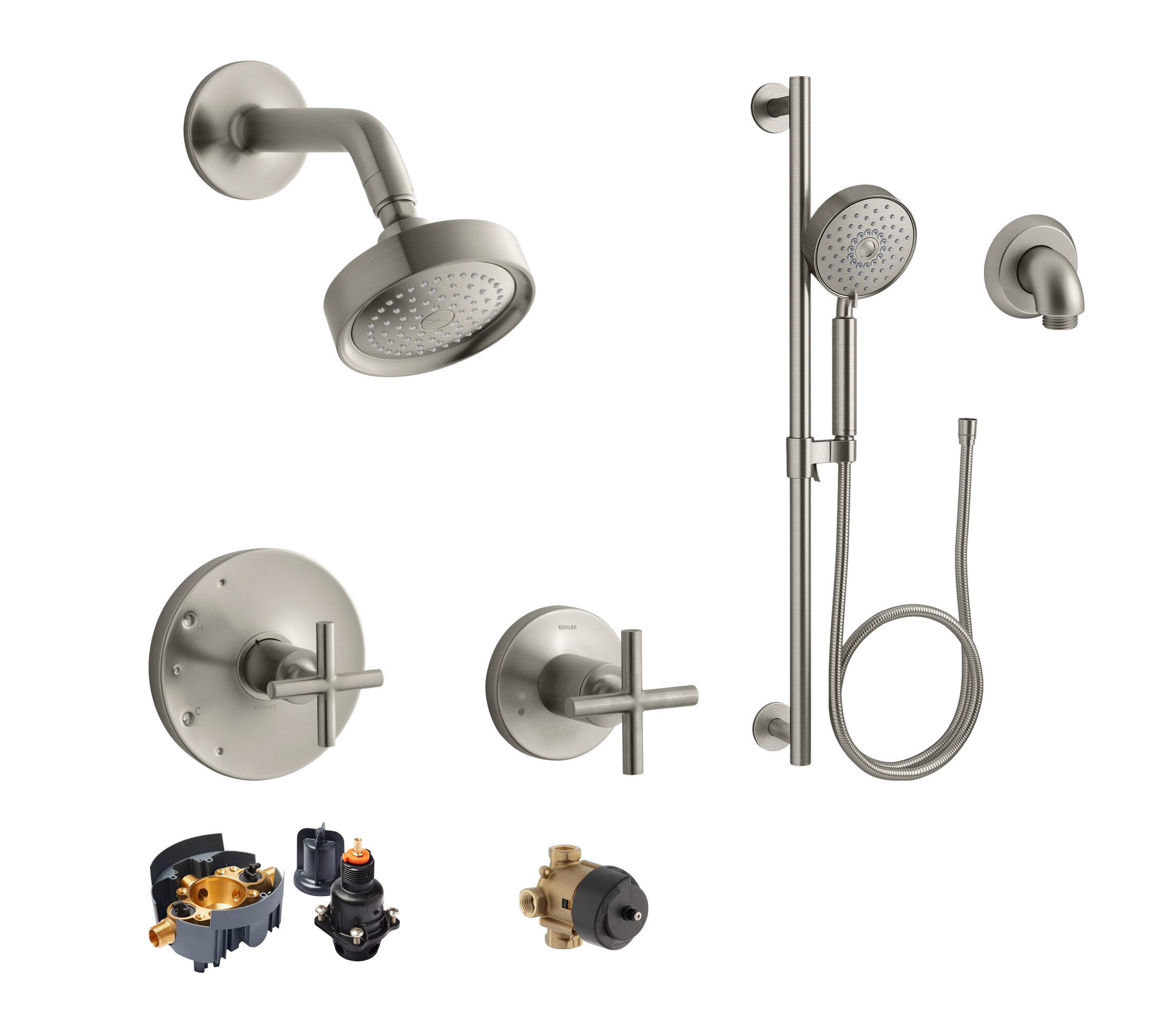 Kohler Purist Rite Temp Showering Kit With Multi Function Handshower And Slidebar