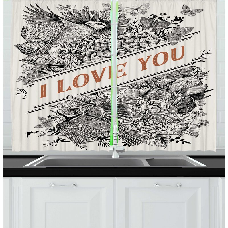 East Urban Home 2 Piece Vintage Valentine I Love You Words With Engraved Flowers Kitchen Curtain Set Wayfair