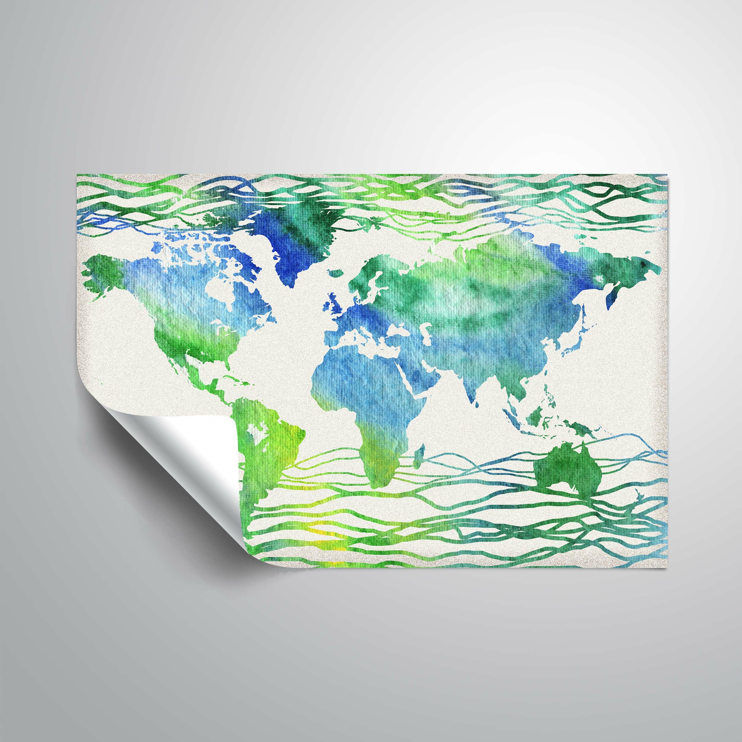 Wrought Studio Gillham Blue Green World Map Removable Wall Decal Wayfair