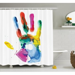 Lorraine Colored Human Hand Single Shower Curtain