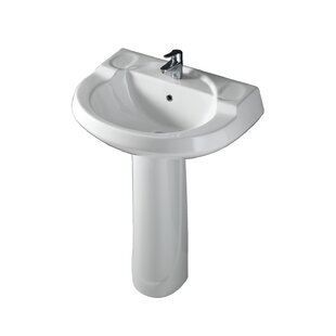 Best Wynne Lavatory Vitreous China 28 Pedestal Bathroom Sink with Overflow By Barclay
