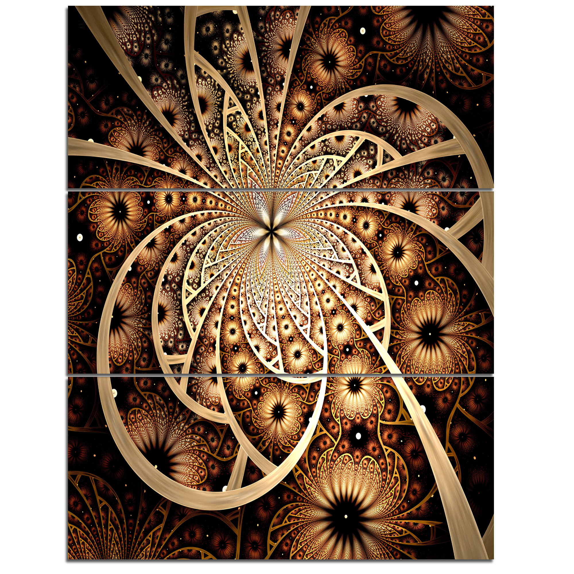 Designart Symmetrical Brown Black Fractal Flower 3 Piece Graphic Art On Wrapped Canvas Set Wayfair