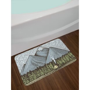 Sketchy Mountain Bath Rug