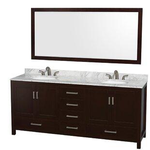 Sheffield 80 Double Espresso Bathroom Vanity Set with Mirror by Wyndham Collection