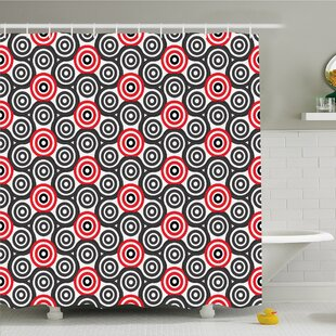 Geometric Circle Interlace Spiral Labyrinth Blind Oval Linked Mosaic Artistic Image Shower Curtain Set