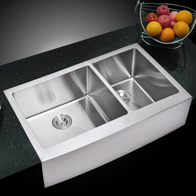 059 Corner Radius 6040 Stainless Steel 36 L x 22 W Double Apron Kitchen Sink with Drain Strainer and Bottom Grid dCOR design