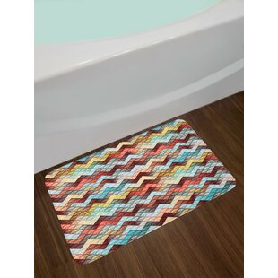 Repetitive Ornate Chevron Patterns Filled with Baroque Floral Texture Motifs Artful Non-Slip Plush Bath Rug