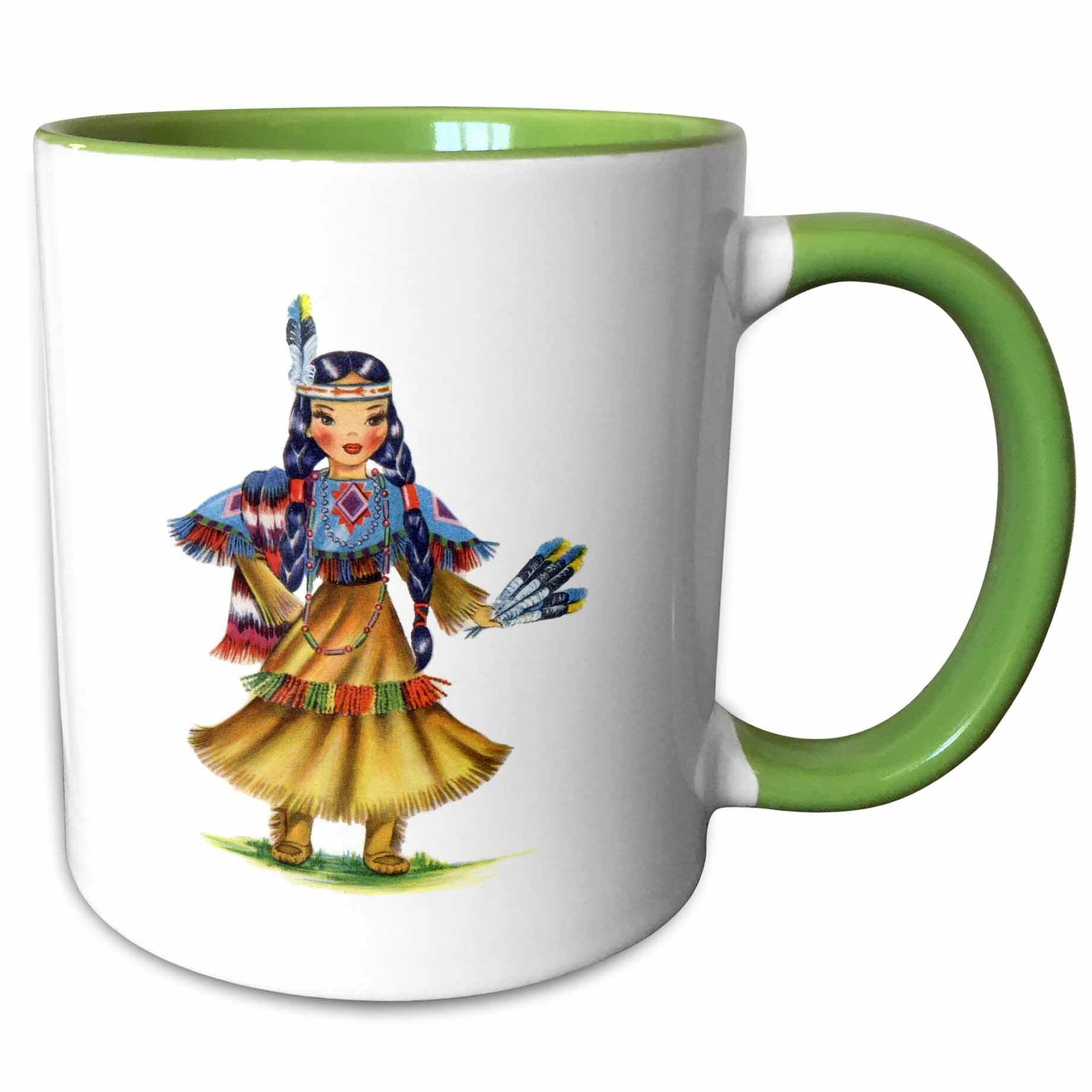 East Urban Home Corwin Print Of Retro Native American Doll Coffee Mug Wayfair