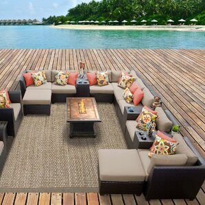 Barbados Outdoor Wicker 17 Piece Fire Pit Seating Group With Cushion