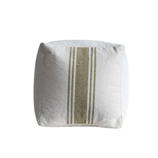 Mcphail Square Cotton Canvas with Olive Stripes Pouf by Gracie Oaks