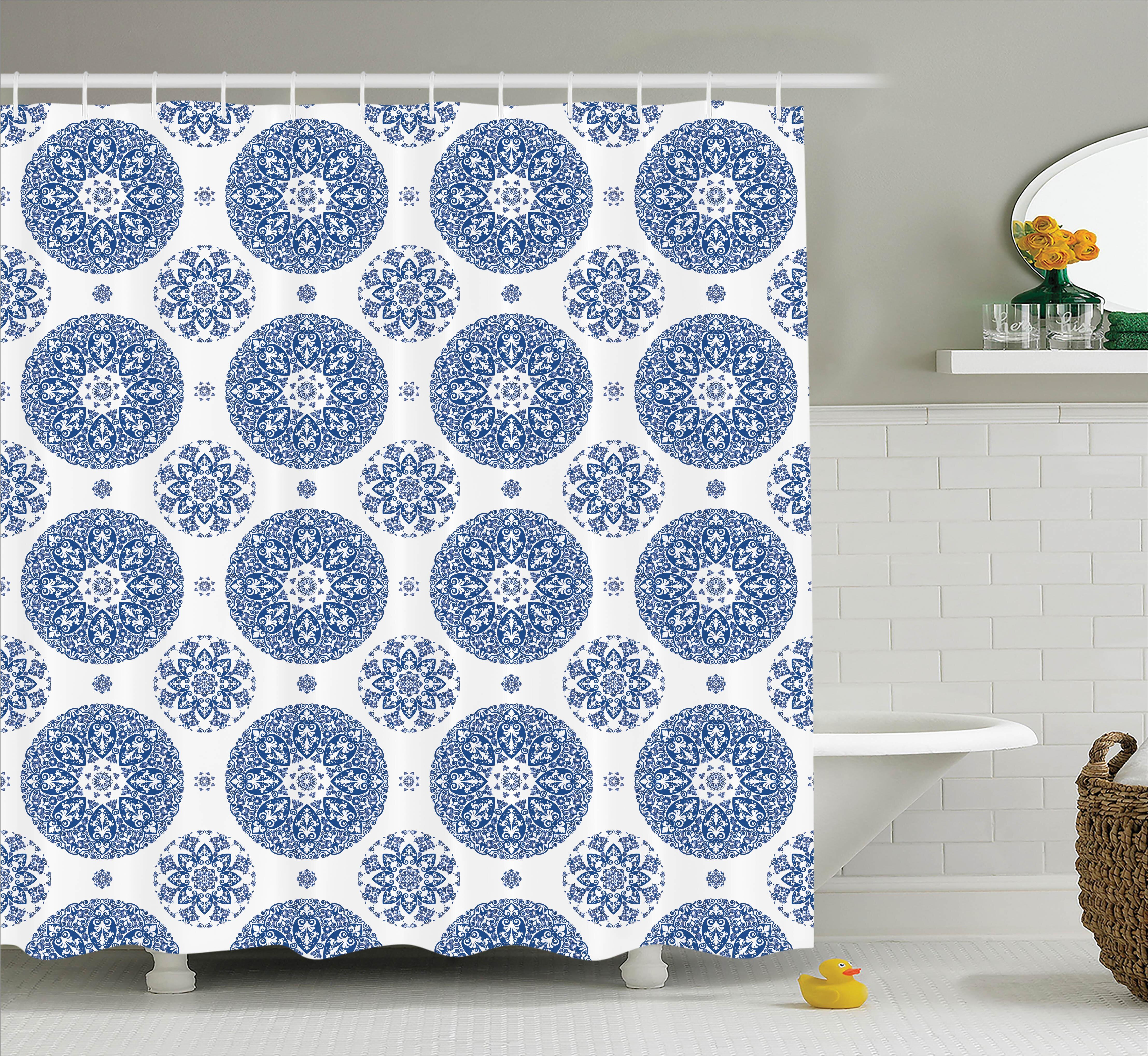 Hayes French Country Style Fl Circular Pattern Lace Snowflake Design Print Single Shower Curtain