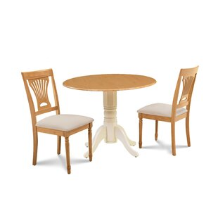 Finnigan 3 Piece Drop Leaf Solid Wood Dining Set Millwood Pines
