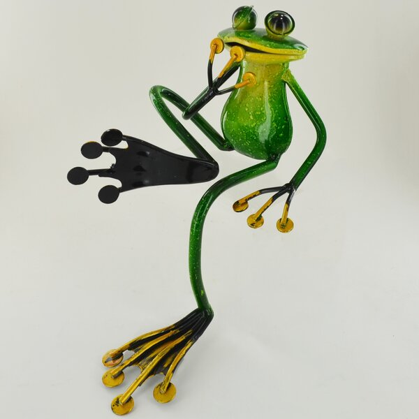 Happy Larry Animal Shelf Sitting Metal Garden Frog Statue