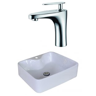 Buy luxury Ceramic Rectangular Vessel Bathroom Sink with Faucet and Overflow By American Imaginations