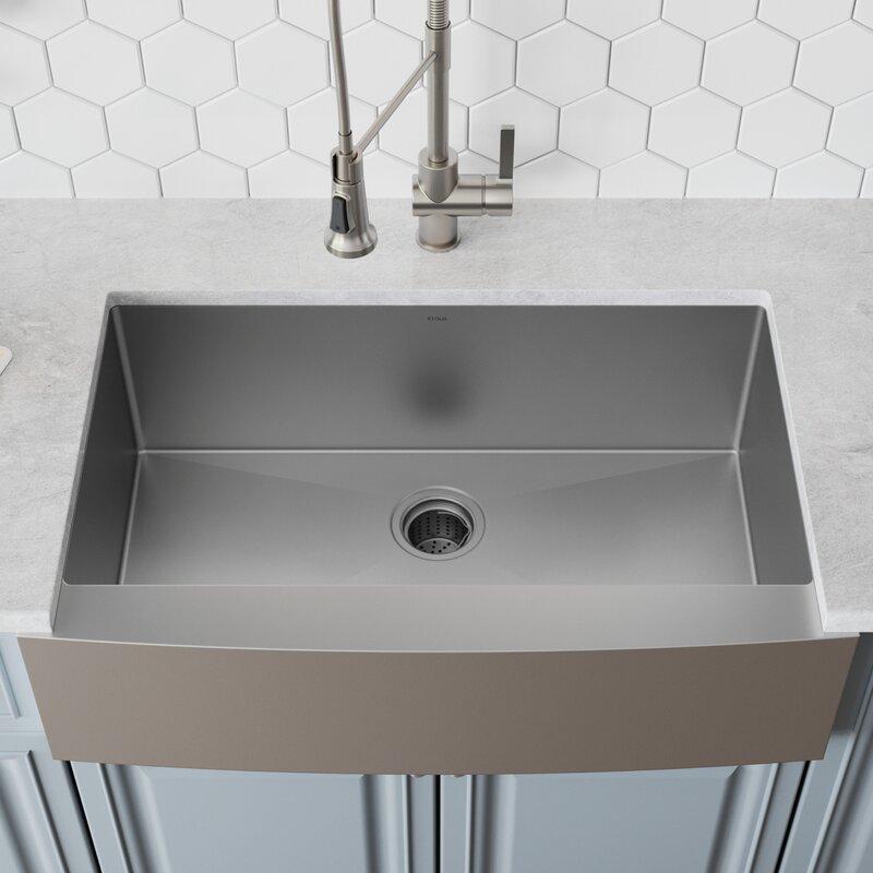 Khf200 33 L X 21 W Farmhouse A Kitchen Sink With Drain Embly