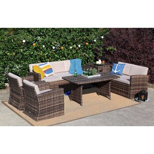 Kyng 6 Piece Rattan Sofa Seating Group with Cushions