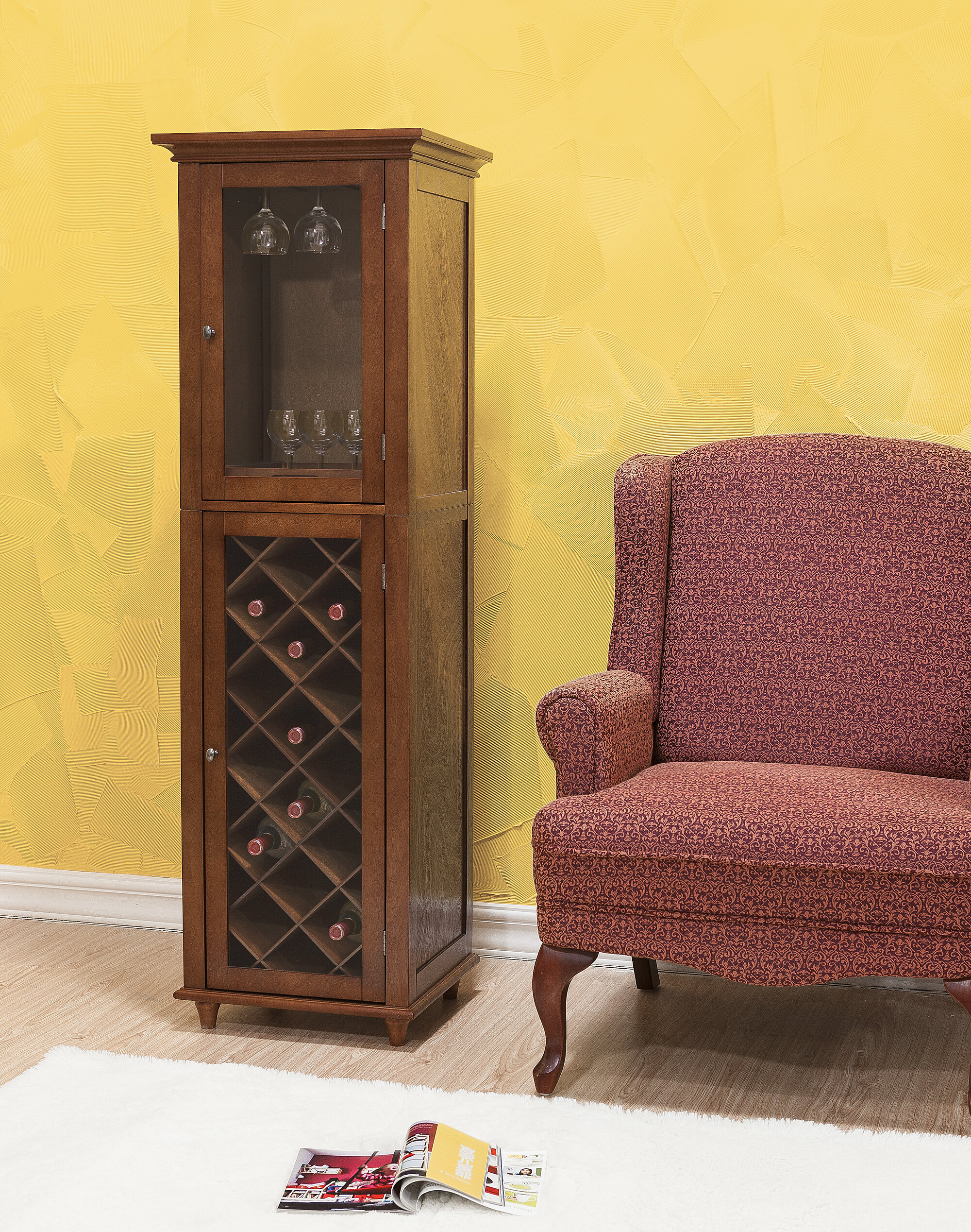 Elegant Home Fashions Napoli VI 16 Bottle Floor Wine Cabinet ...