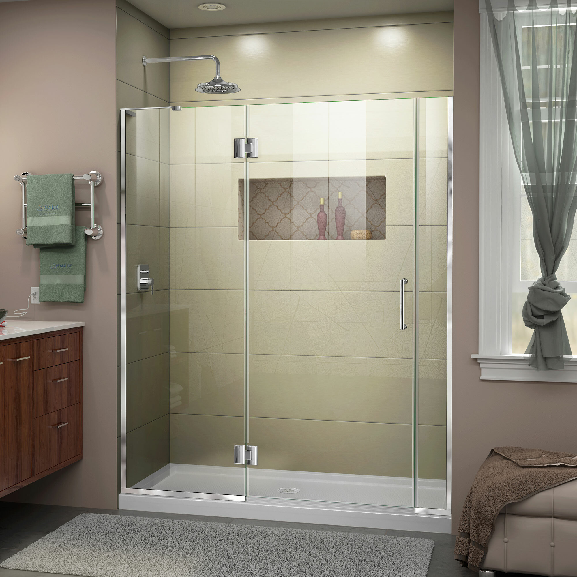 Unidoor X 58 X 72 Hinged Frameless Shower Door With Clearmax Technology