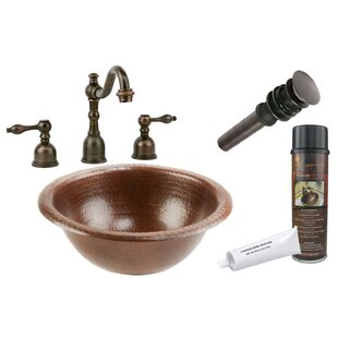 Inexpensive Braided Metal Circular Drop-In Bathroom Sink with Faucet ByPremier Copper Products