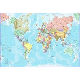 World Map Mural Kids Wayfaircouk - World map mural for kids