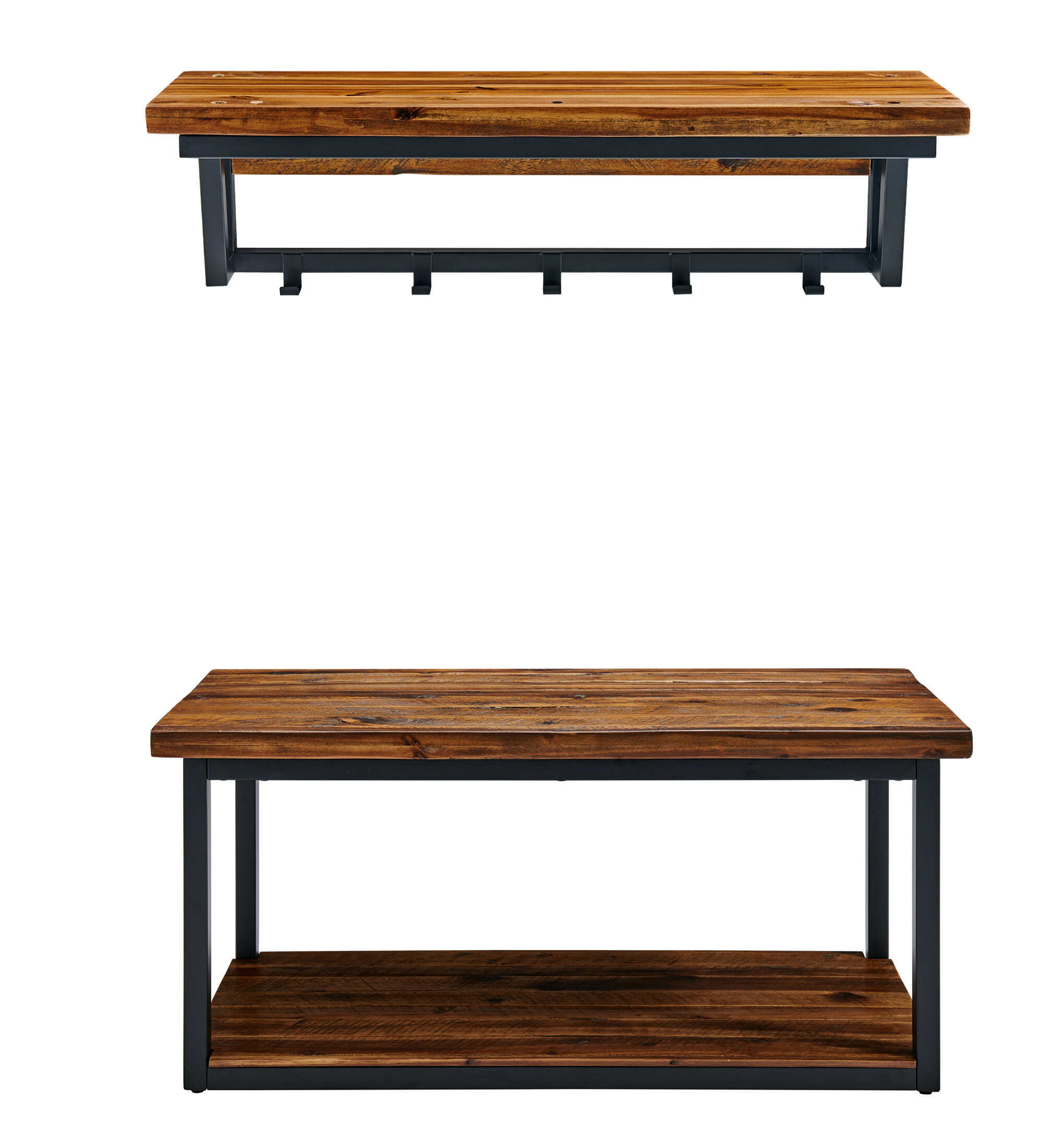Foundry Select Vanna Wood Shelves Storage Bench with Coat Hook