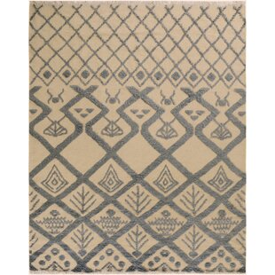 Best Deals One-of-a-Kind Aaden Hand-Knotted Wool Ivory/Black Area Rug By Isabelline