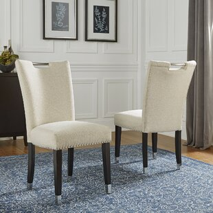 Quintan Upholstered Dining Chair in Beige Set of 2 by Red Barrel Studio