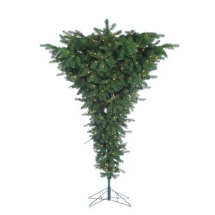 Pre-Lit Palm Tree 7.5' Green Artificial Christmas Tree with 600 Clear & White Lights with Stand