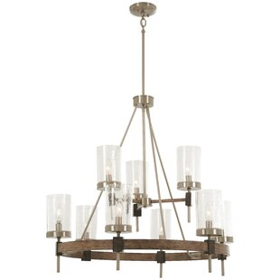 Lisle 9-Light Wagon Wheel Chandelier
