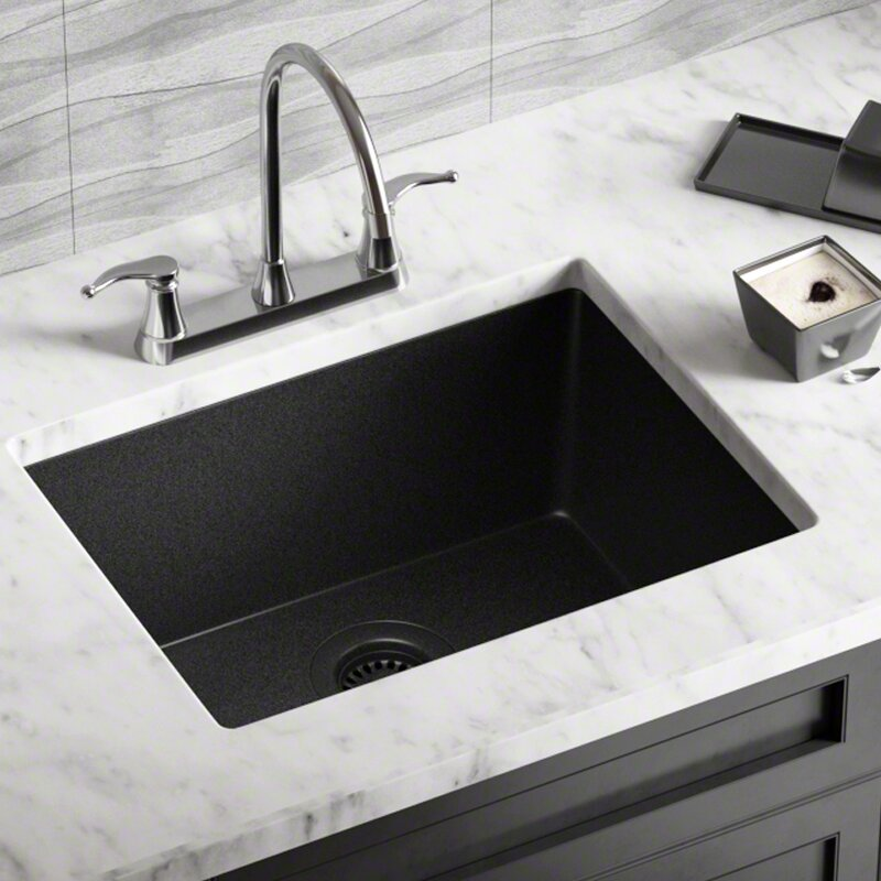 Granite Composite 22 X 17 Undermount Kitchen Sink With Strainer