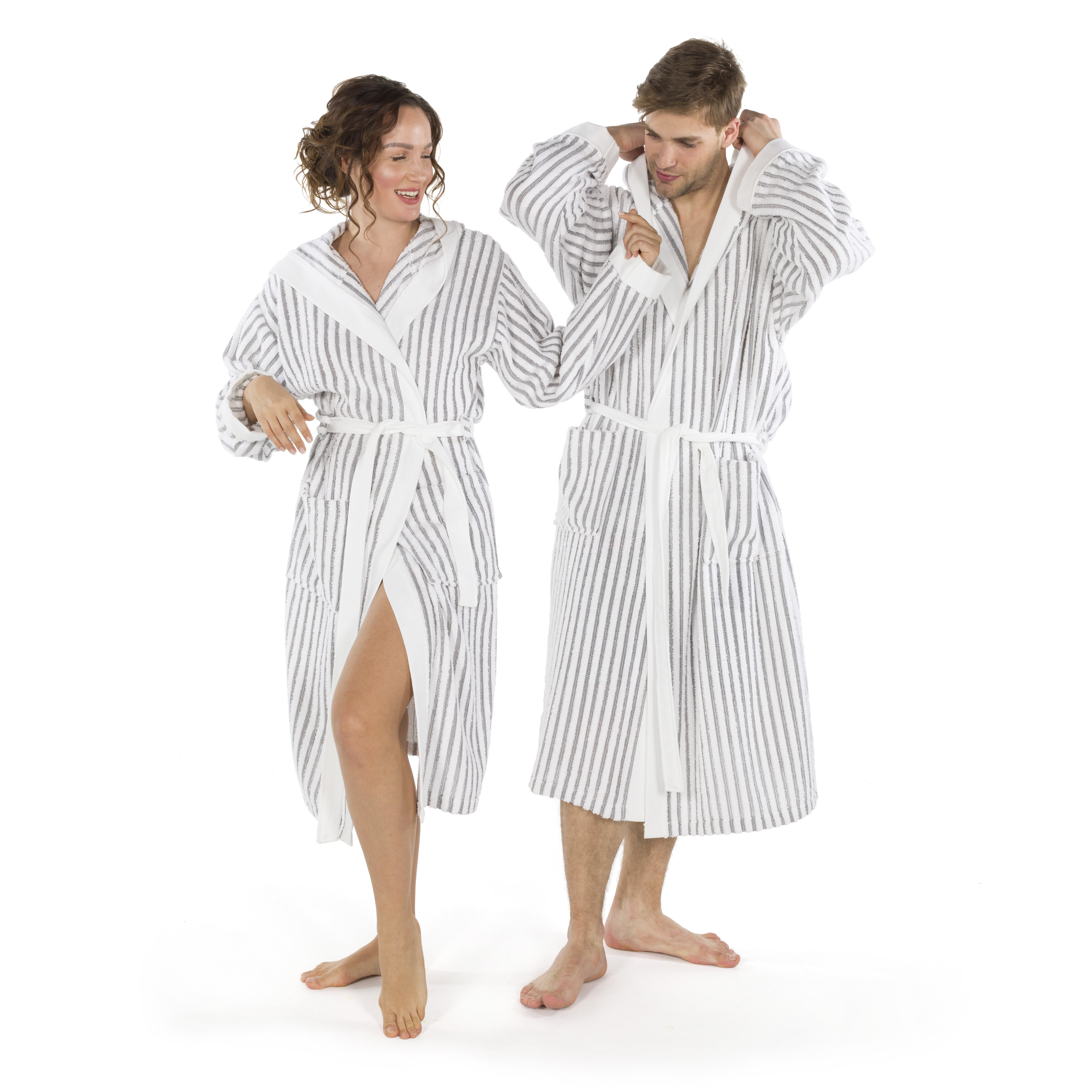 4329b2d0a0 Highland Dunes Brett Terry Stripe 100% Turkish Cotton Terry Cloth Bathrobe