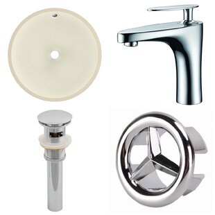 Bargain CUPC Ceramic Circular Undermount Bathroom Sink with Faucet and Overflow By American Imaginations