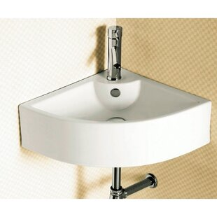Best Ceramic 26 Corner Bathroom Sink with Overflow By Caracalla