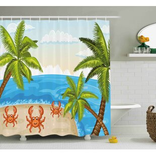 Budron Crabs Cartoon Style Illustration of Palm Trees and Crabs on Beach Cloudy Sky Print Single Shower Curtain