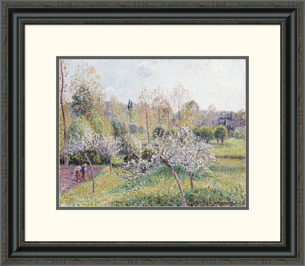 Global gallery 39apple trees in blossom eragny39 by camille for Best brand of paint for kitchen cabinets with wall art iron work