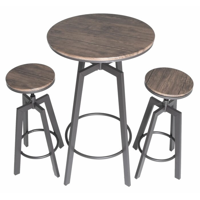 Hoskins Round Wood Top Metal Bar Bistro 3 Piece Adjule Pub Table Set