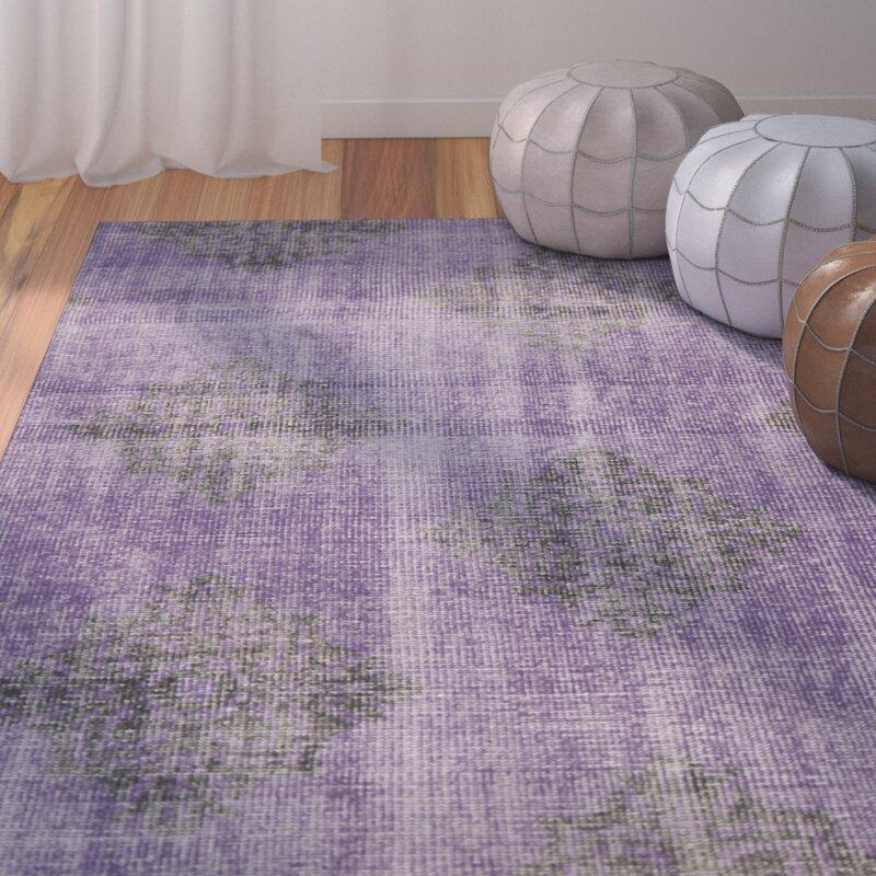 Charlton Home Adnan Damask Hand Knotted Wool Violet Area Rug Wayfair