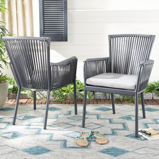 Paolo Rope Stacking Patio Dining Chair with Cushion (Set of 2)
