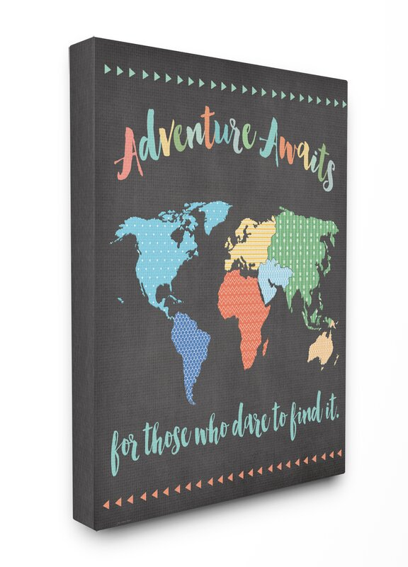 Stupell Industries The Kids Room Adventure Awaits World Map Canvas - World map for kids room