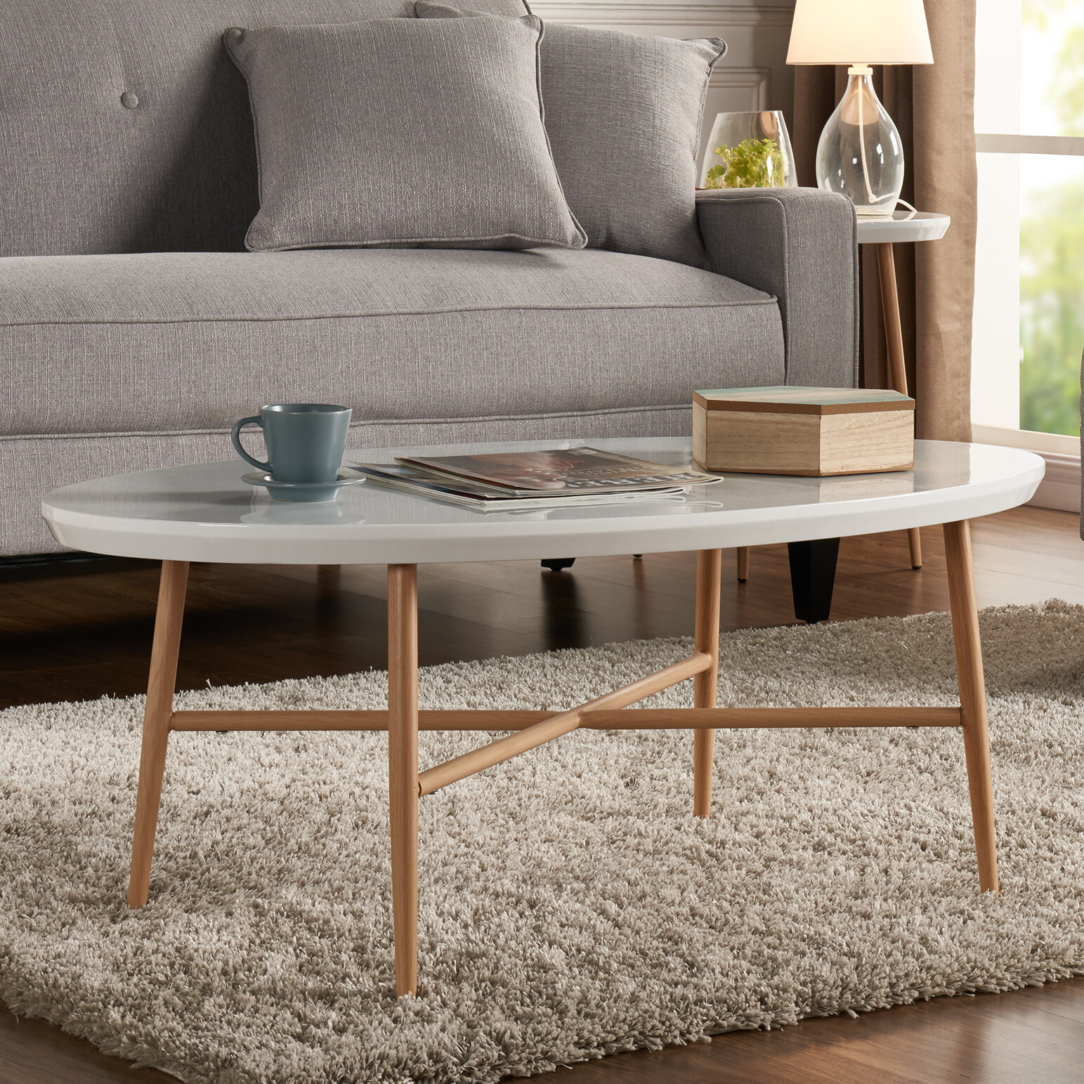 George Oliver Umstead Oval Engineered Wood Coffee Table & Reviews