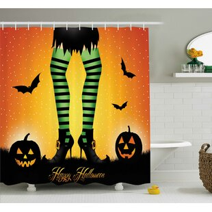 Halloween Decor Cartoon Witch Single Shower Curtain