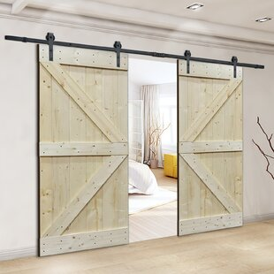 Natural Core Knotty Pine Solid Wood Panelled Slab Interior Barn Door