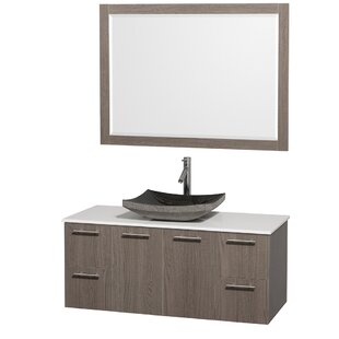 Find for Amare 48 Single Gray Oak Bathroom Vanity Set with Mirror ByWyndham Collection