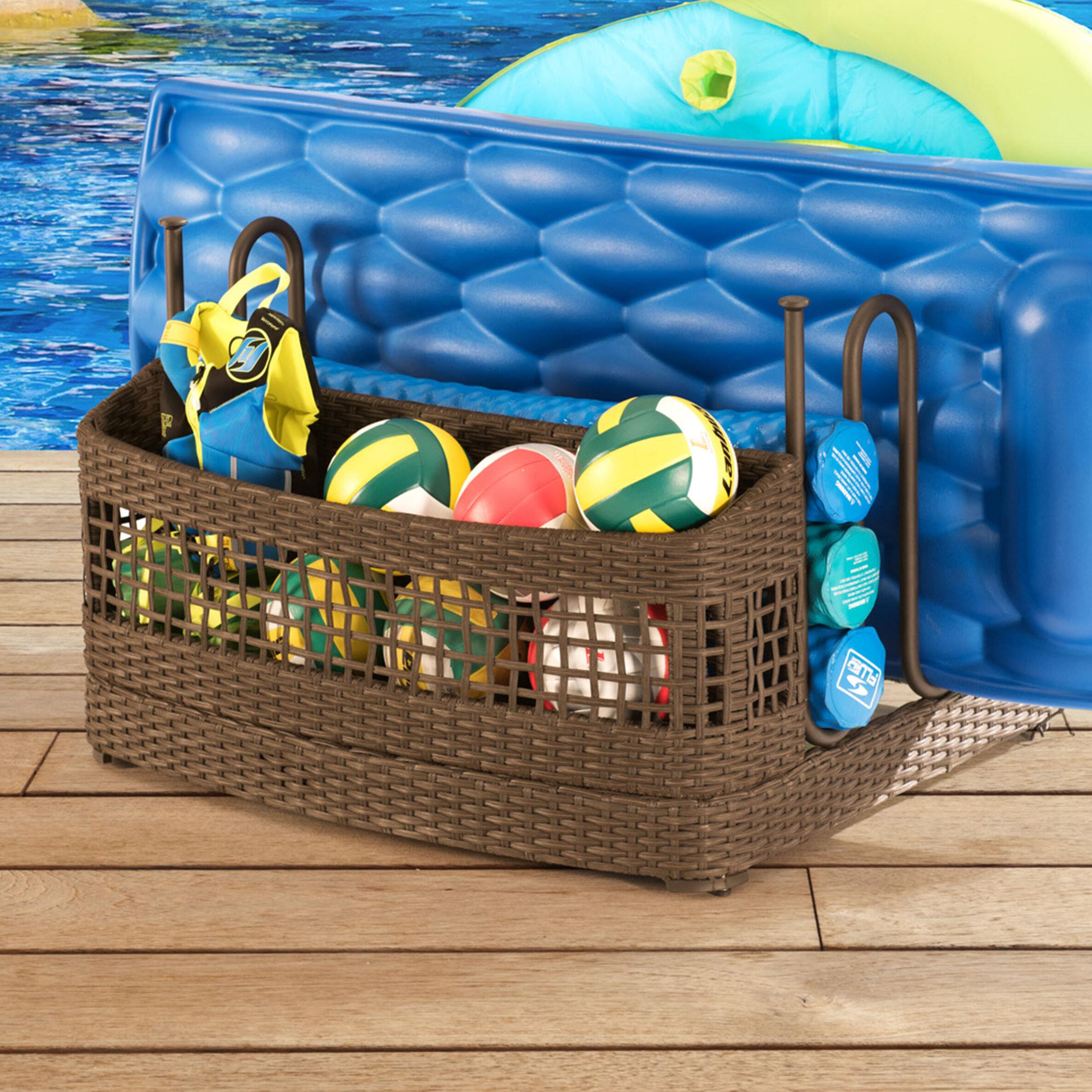 Sunjoy Pool Float Wicker Deck Box & Reviews   Wayfair