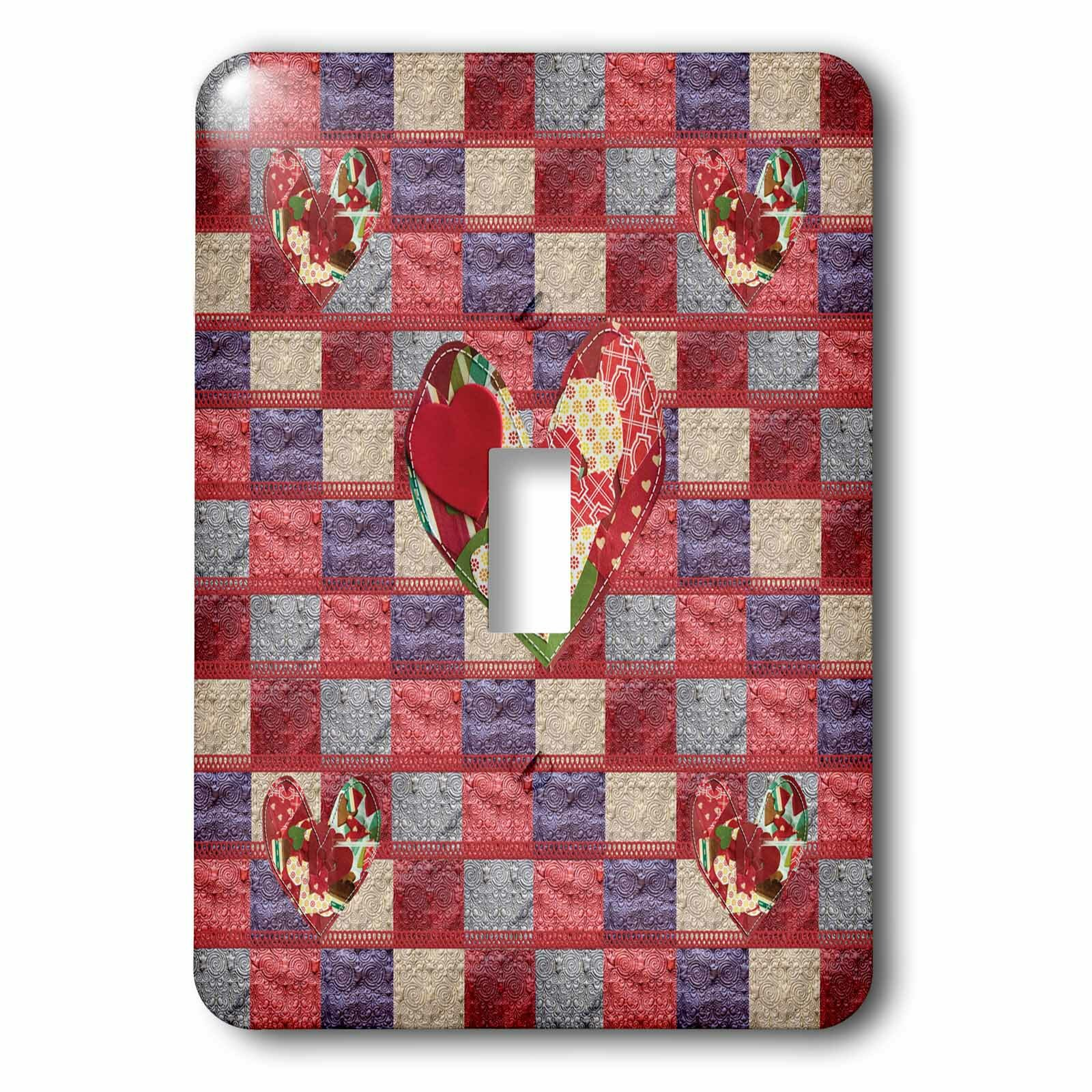 3drose Quilted Hearts 1 Gang Toggle Light Switch Wall Plate Wayfair