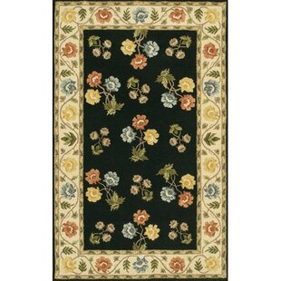 Top Reviews Helmetta Hand-Tufted Wool Black Area Rug By August Grove